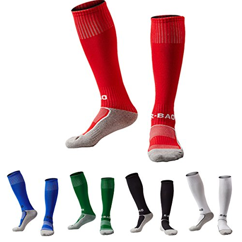 - Football Socks for Kids Knee High Towel Bottom Pressure Soccer Socks (Red/Royalblue/Dark Green/Black/White)