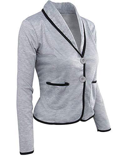 Manteaux Longues Clair À Gris De large Blazer Oudan Décontractée Pour Femme Travail Veste Manches X Taille Noir coloré wqCzzY