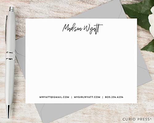 SIGNATURE - Personalized Flat Stationery/Professional Stationary Notecard And Envelope Set