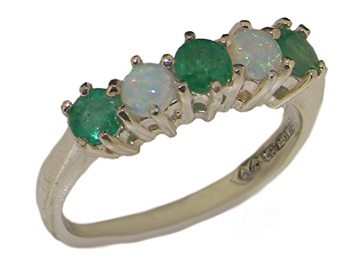 10k White Gold Natural Emerald & Opal Womens Eternity Ring - Sizes 4 to 12 (Gold Opal Emerald Ring)