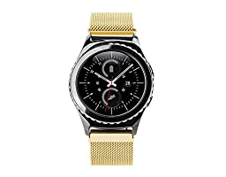 EloBeth for Steel HR/Samsung Gear S2 Classic Watch Band, 20mm Mesh Replacement Watch Bracelet with Unique Magnet Lock,No Buckle Needed for steel HR for Gear S2 SM-R732 Smart Watch Magnet Lock Gold