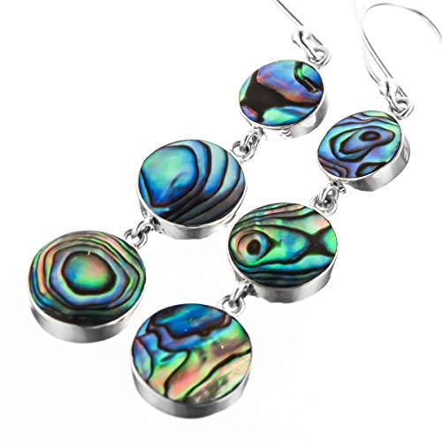 - New Zealand Paua Abalone Shell 925 Sterling Silver French Wires Drop Earrings, 1 5/8