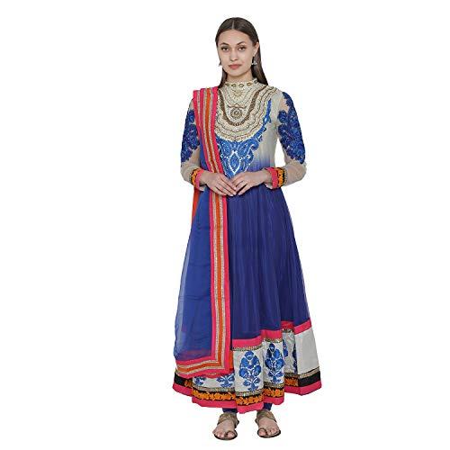 PinkShink Blue Soft Net Long Anarkali Kurta Dupatta Churidar Set su22 (M)