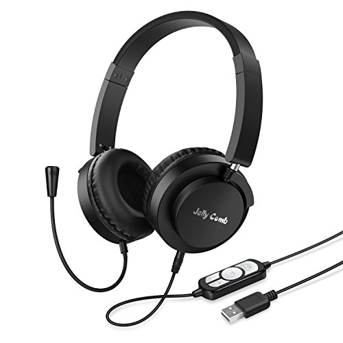 USB Headset / 3.5mm Jack Computer Headset with Microphone, Jelly Comb Lightweight Foldable Wired Headphones with Soft Comfortable Earmuffs, Great for Skype, Webinar, Phone, Call (Lightweight Comb)