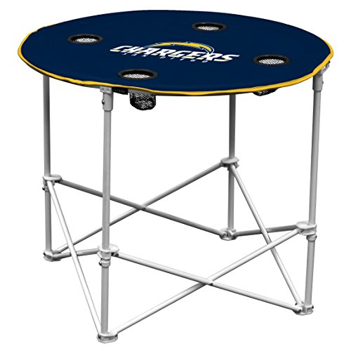 Logo Brands San Diego Chargers Collapsible Round Table with 4 Cup Holders and Carry (San Diego Chargers Collapsible)