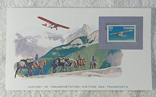 Bush Aircraft - Postage Stamp (Canada, 1982) & Art Panel - The History of Transportation - Franklin Mint (Limited Edition, 1986) - Fairchild FC-2W1, Camera Plane