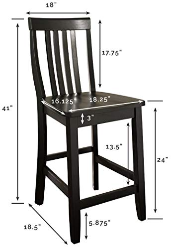 Crosley Furniture Schoolhouse Bar Stool (Set of 2), 24-inch, Black