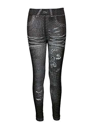 New Butterfly Girls Tights (Crush Girls Distressed Denim With Butterfly Leggings Pants Size 4-6 Black)