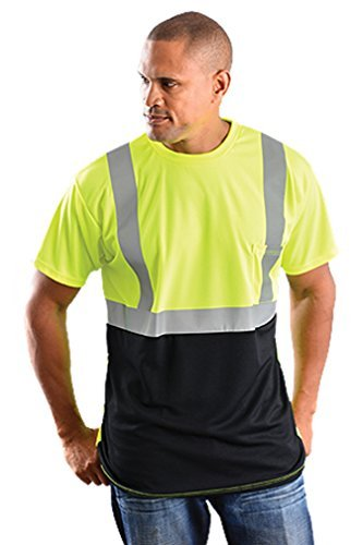 Classic Black Bottom T-Shirt Wicking Birdseye Hi-Viz Safety Shirt - (Class Yellow T-shirt)