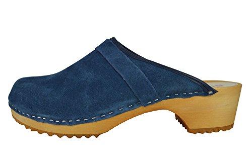 Buxa in Scamosciata Pelle Zoccoli Unisex Blu Semplice Legno 1tdwftrq