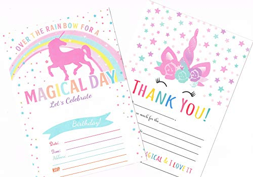 Unicorn Birthday Party Invitations + Thank You Cards set For Girls (25 cards each) with Envelopes (50 Counts) | Magical Birthday Invitations Pack | 100 Counts]()