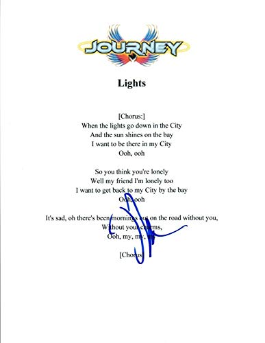Neal Schon Signed Autographed Journey LIGHTS Song Lyric Sheet - Song Light Lyrics