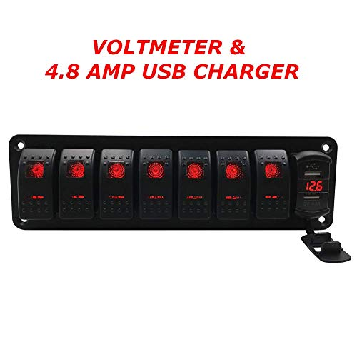 (Switchtec 3 5 7 Gang Rocker Switch Aluminum Panel with 4.8 Amps Dual USB Fast Charger with Voltmeter, Red Backlit Led, Pre-Wired for Marine, Boat, Car, Truck(4.8A USB & 7 Switches Red))