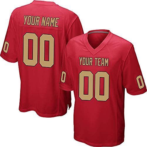 Customized Women's Red Mesh Football Jersey Embroidered Team Name and Your Numbers,Gold-Black Size XXL
