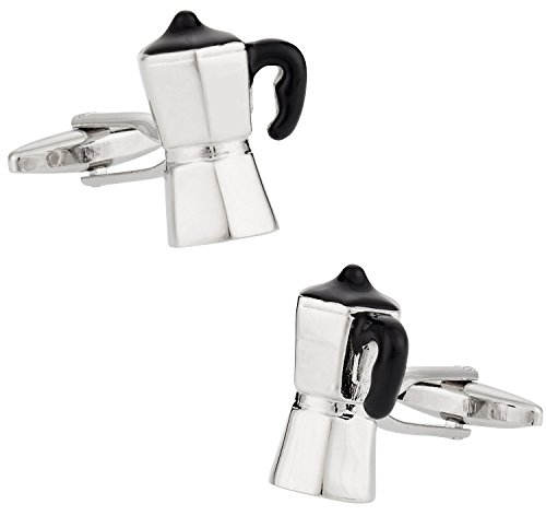 Italian Espresso Maker Coffee Cufflinks with Presentation Box
