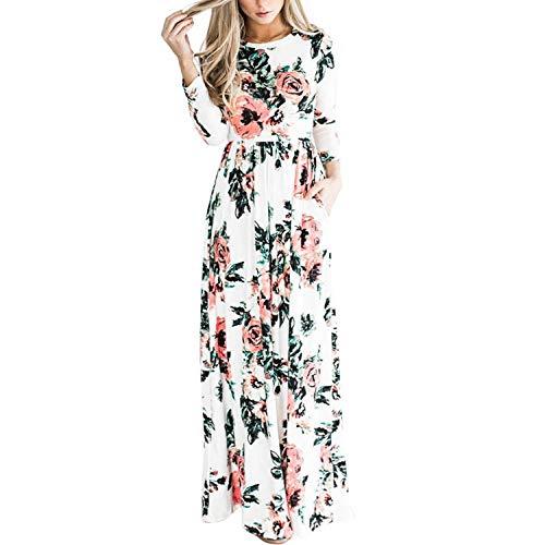 Kaured Stylish Womens Scoop Neck Wave Striped Tank Maxi Long Dress,XX-Large,White