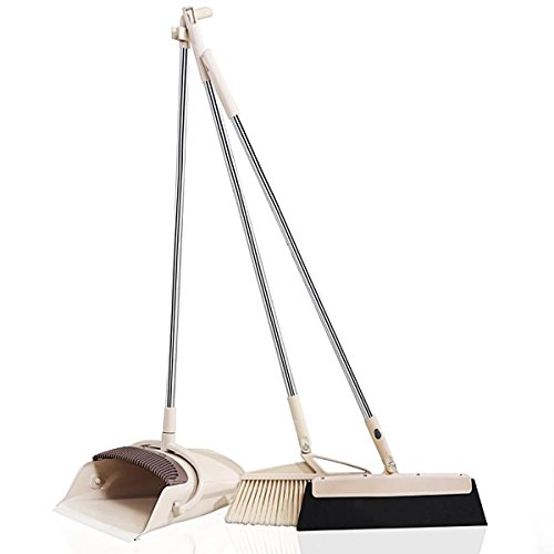 Exteded Broom and Dustpan Set with Wipe Dry Floor Squeegee - 3PCS Self Cleaning Broom and Dust Pan with Long Handle, Standing Upright Grips Sweep Set with Lobby Broom Combo ()
