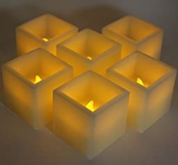 FLAMELESS WAX CANDLES by LED Lytes, 6 Amber Yellow Flickering Faux Square Battery Operated Electric Lights, Fake LED candle for Weddings, Parties and Mothers Day Gifts for Women