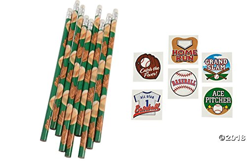 (156 pce. Baseball Theme Party Favors / 12 Pencils/144 Temporary Tattoos)