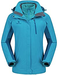 Women's Ski Waterproof Jacket Fleece Inner Rain Winter Coats Hooded Windproof Snowboard Jacket for Hiking Snow Outdoor Travel