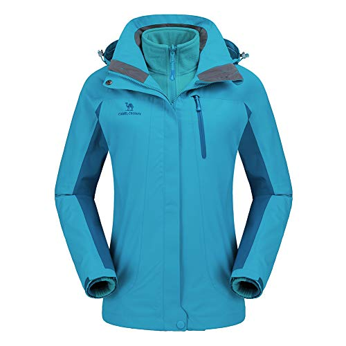 CAMEL CROWN Women's Ski Jacket Waterproof 3-in-1 Winter Coats Windproof Snow Jacket for Rain Hiking -