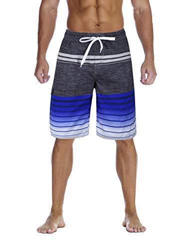 - Nonwe Men's Swimsuit Quick Dry Striped Water Sport Swim Shorts Drawsting Blue 40