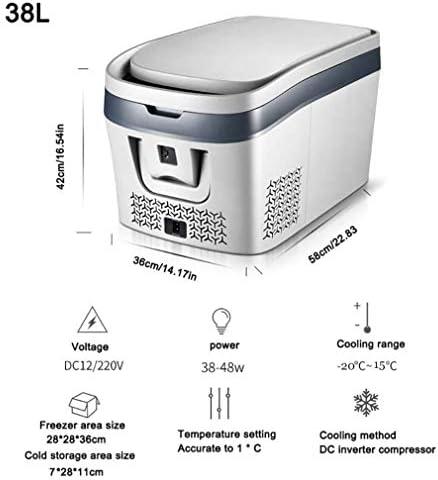カー冷蔵庫、38Lカー冷蔵庫コンプレッサーDC 12V 24Vカー冷蔵庫フリーザークーラーカーホームピクニック冷凍冷凍庫-20〜15度