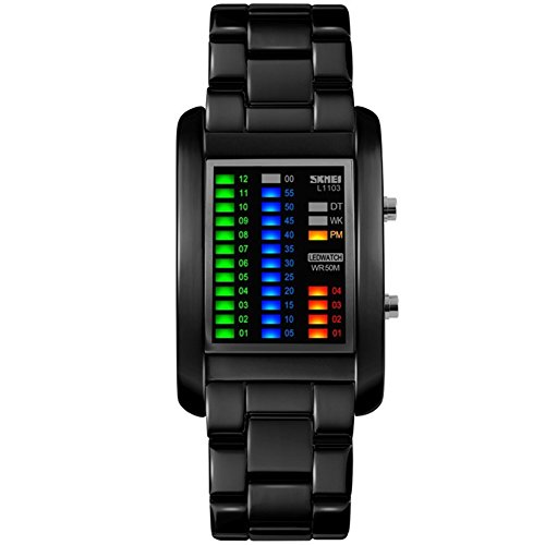 BROJET Man's Color LED Digital Creative Waterproof Watches Black Plated Cool Binary Wrist - Watches For Men Binary