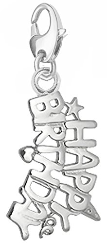 - Silver Charm with Lobster clasp for attaching charm bracelet, necklace and key chains - HBIRTH
