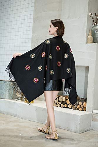 JYJSYMFZScarf Shawl Spring Autumn Winter New Embroidery Imitation Cashmere National Wind Embroidered Beaded Warm Tassel, Black, 200cm with Tassel Warm Sun Shade Decorative dust Sunscreen ()
