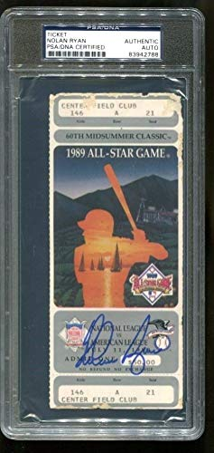 Nolan Ryan Autographed Signed Full Ticket 1989 All Star Game Win Autographed Signed PSA/DNA Authentic 2788