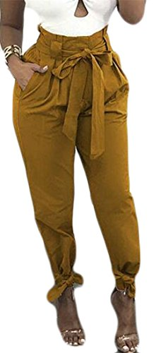 Cromoncent Womens Tie Bottom Solid Color High Waist Baggy Fit Belted Long Pants