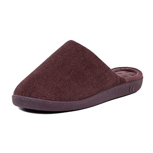 Isotoner - Zapatillas de estar por casa de Tela para hombre marrón marrón M