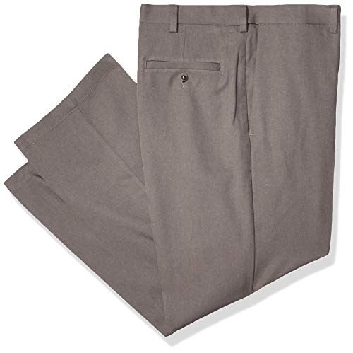 - Haggar Men's Cool 18 PRO Classic Fit Flat Front Expandable Waist Pant, Heather Grey, 34Wx28L