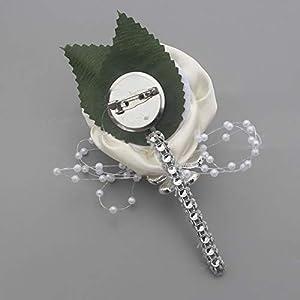 YOYOYU ART HOME DECOR 2 Pcs/Pack Wedding Corsages Boutonniere Groom Diamond Crystal Wedding Flowers Pearl Beaded Brooch Flowers (Cream) 4