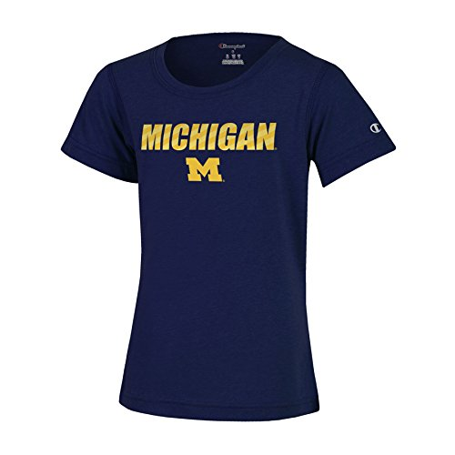 Michigan Wolverines Short Sleeve Shirt - NCAA Michigan Wolverines Girls Short Sleeve Scoop Neck T-Shirt, Medium, Navy Heather