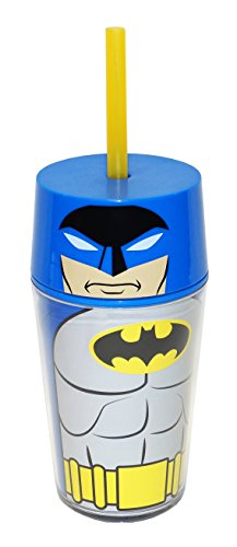 Zak! Designs Insulated Iconic Tumbler with Screw-on Lid and Straw featuring Batman Graphics, Double Wall Construction, BPA-free Plastic, 13 oz.