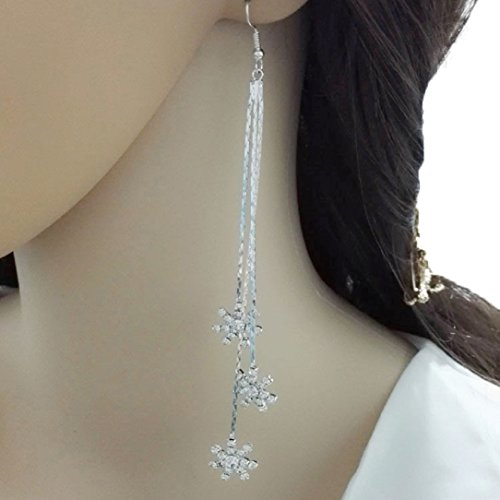 YABINA Long Tassel Luxury Snowflake Crystal Dangling Earrings Jewelry Accessories (Silver) ()