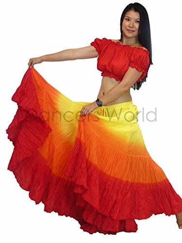Dancers World Ltd (UK Seller) 25 Yard Tribal Gypsy Cotton Belly Dancing Skirt with Choli Top Size US - Canada 10-18, M to Plus Size (4) (Top 10 Belly Dancers In The World)