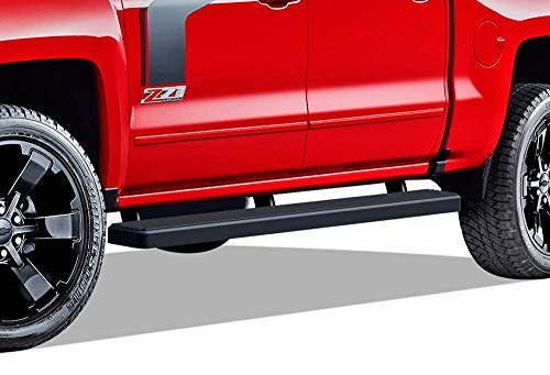 APS iBoard (Black Powder Coated 5 inches) Running Boards | Nerf Bars | Side Steps for 2007-2018 Chevy Silverado/GMC Sierra Crew Cab & 2019 2500 HD / 3500 HD Crew Cab (Excl. 07 Classic Models)