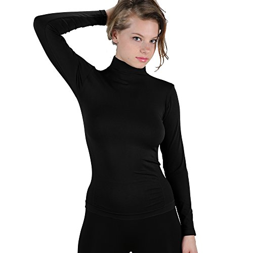 Spandex Mock Turtleneck - Soft Long Sleeve Polo Mock Turtleneck T-Shirt Stretch Top XS-L (Black)