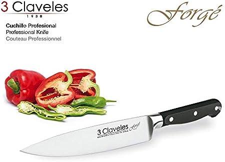 3Claveles Ash Forgé - Juego de 5 cuchillos y tijera con bloque en madera de fresno