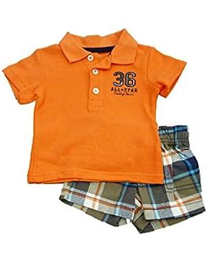 Carters Infant Boy Orange 36 All Star Polo Shirt Blue Orange Plaid Shorts Set