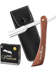 Schwertkrone Scheermes met houten handvat + 100 Derby verwisselbare messen extra of premium + transporttas | scheermessenset heren voor beginners en gevorderden
