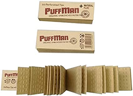 Puffman Unbleached Slim Filter Tips for Rolling Papers Box of 25 x 50 Tips