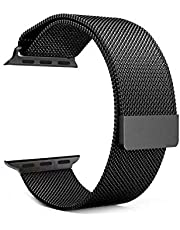 Magnetic Milanese Loop Stainless Steel Metal Strap Watch Bands For Apple Watch 42MM Black ss