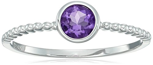 10k White Gold African Amethyst Solitaire Beaded Shank Stackable Ring, Size 7