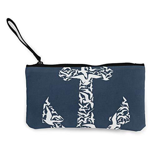 stract Ship Bird Blue Customs Zipper Pouch Wallet For Cash Bank Car Passport ()
