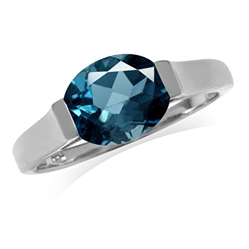 - 3.08ct. 10x8MM Genuine Oval Shape London Blue Topaz 925 Sterling Silver Solitaire Ring Size 7