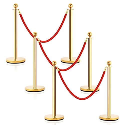 Goplus 6Pcs Stainless Steel Stanchion Posts Queue Pole Retractable 4 Ropes Crowd Control Barrier with 5Ft Red Velvet Rope, Gold